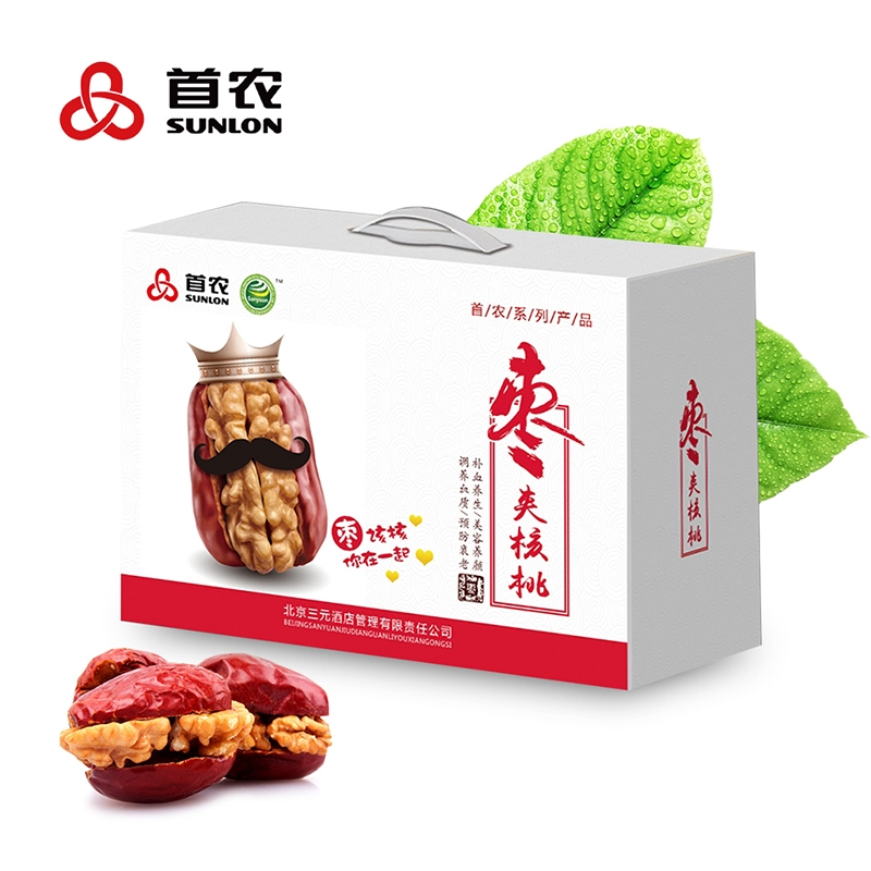【首农集团出品】A款五星枣夹核桃500g*2袋礼盒 坚果美食零食