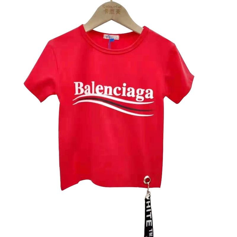 【超级秒杀】卡鹿芙童装 字母款红色短袖T恤 正品保证
