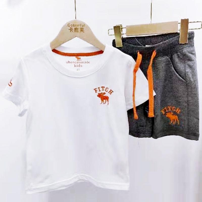 【超级秒杀】卡鹿芙童装 白色短袖T恤裤子套装 正品保证