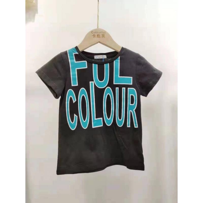 【超级秒杀】卡鹿芙童装 字母款黑色短袖T恤 正品保证