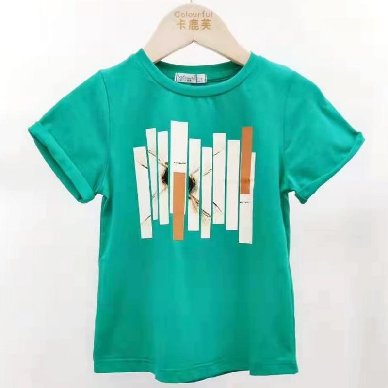 【超级秒杀】卡鹿芙童装 绿色条纹图案T恤 正品保证