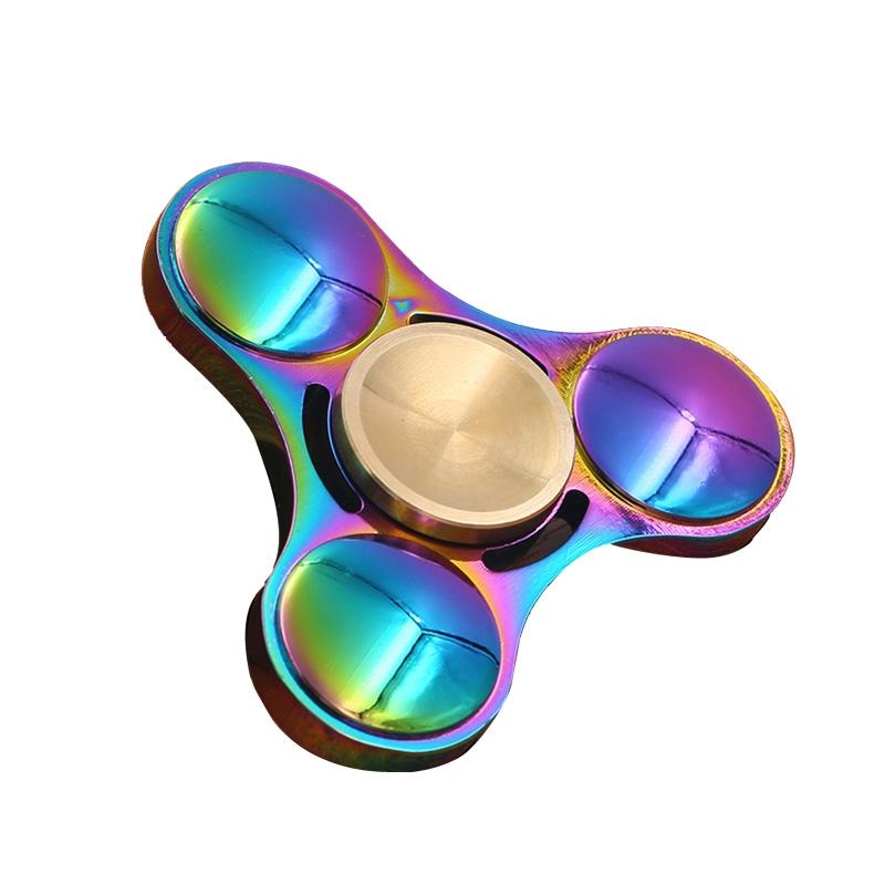 【UFO七彩】三角金属锌合金电镀旋转清泓玩具炫彩手间指尖陀螺