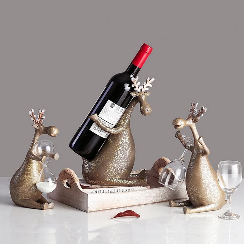 复古创意酒架杯架鹿摆件 客厅餐厅酒柜装饰品