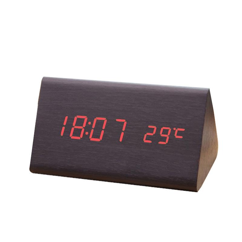 木头钟 led时钟 声控双显 创意闹钟 电子礼品